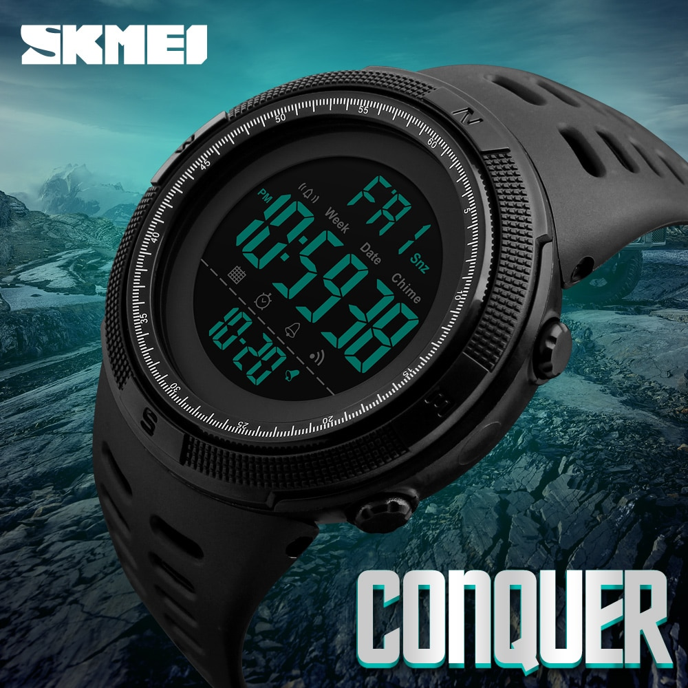 SKMEI Brand Men Sports Watches Fashion Chronos Countdown Men's Waterproof LED Digital Watch Man Mili