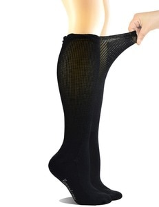 Women's Non-binding Lace Bamboo Knee-Hi Boot Diabetic Socks with Seamless Toe,4 Pairs