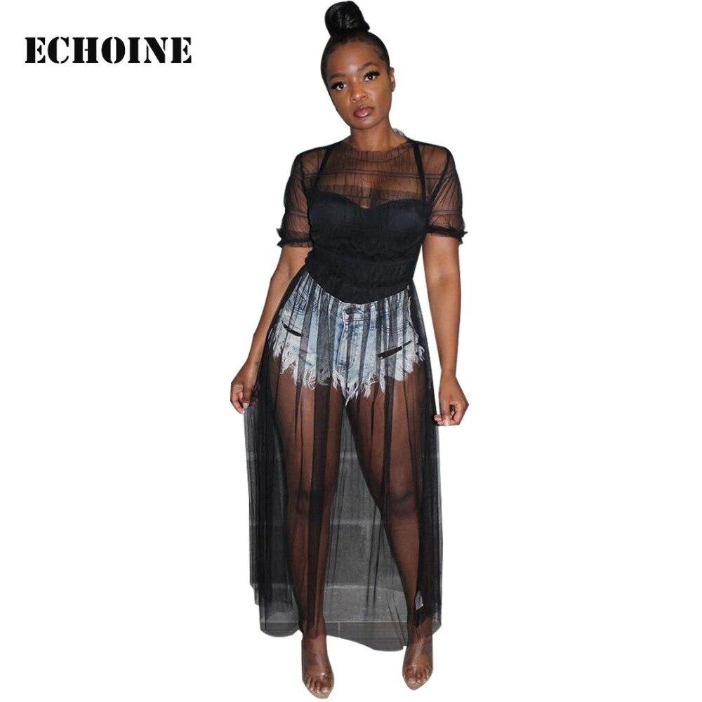 2019 New Sexy Sheer Mesh Maxi Dress Transparent Clubwear Club Outfit Women Elegant  Vestidos Beach Dress Night Club Long Dresses