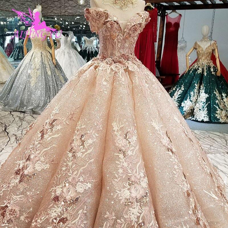 Vestidos de novia lisos aijinyu costura tiendas Sexy Unión moda pavo Ball2019 largo traje de novia encaje superior