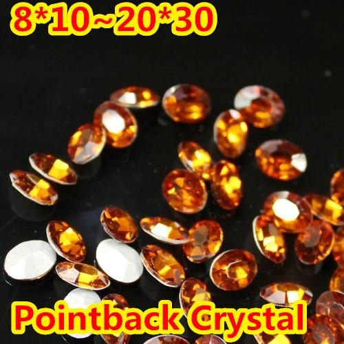 Hyacinth Oval forma de cristal de lujo de piedra de punto atrás de la piedra de cristal para DIY joyería Accessory.10 * 14mm 13*18mm 18*25mm 20*30mm