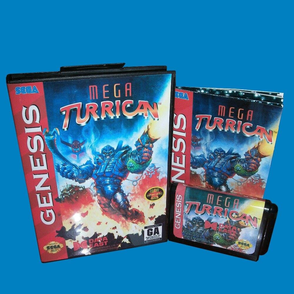 Mega Turrican con caja y Manual, 16 bits, tarjeta de juego MD...