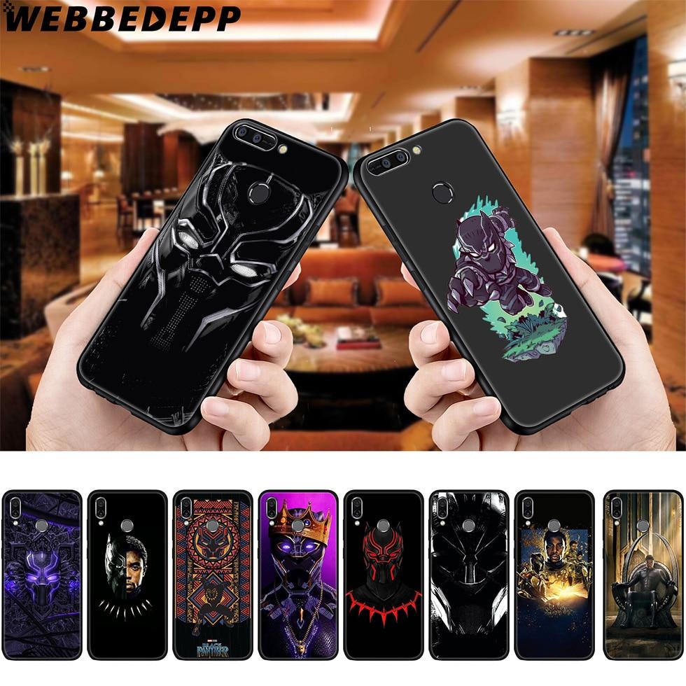 Funda suave WEBBEDEPP Black Panther Marvel para Huawei P8, P9, P10, P20, P30 Lite Pro P Smart Z Plus 2019, Y6 Prime 2018, 2017 Lite Mini