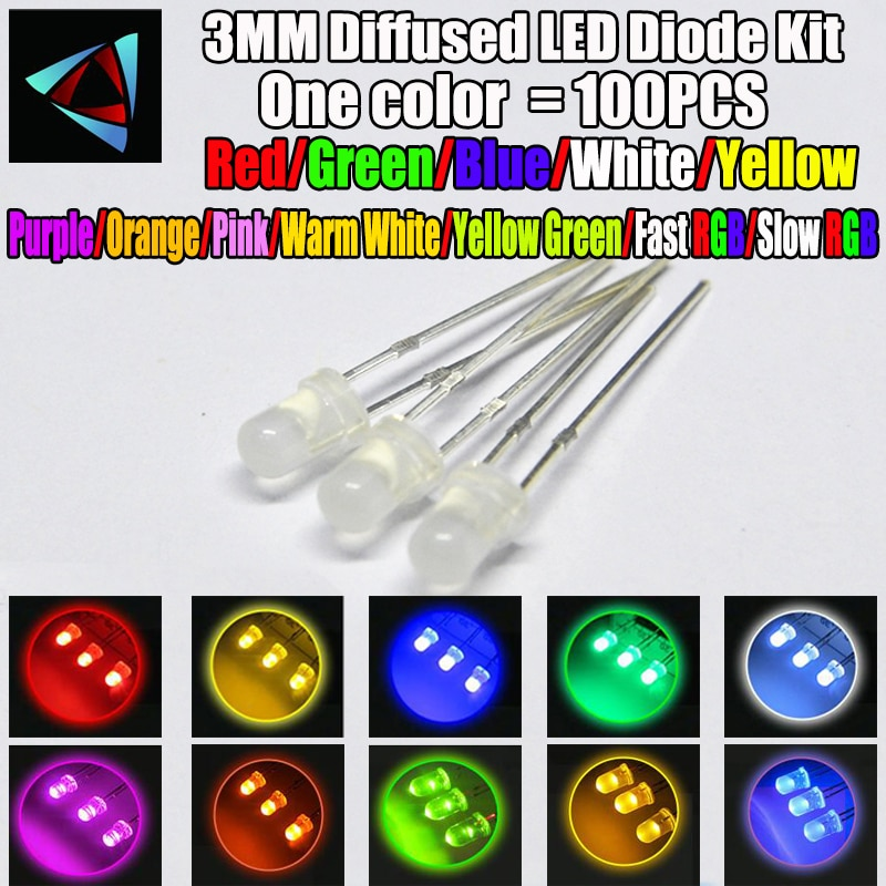 100pcs 3mm Misty LED Diffused Kit 3 mm 3V Warm White Green Red Blue Yellow Orange Purple UV Pink Fast Slow RGB 10 colors