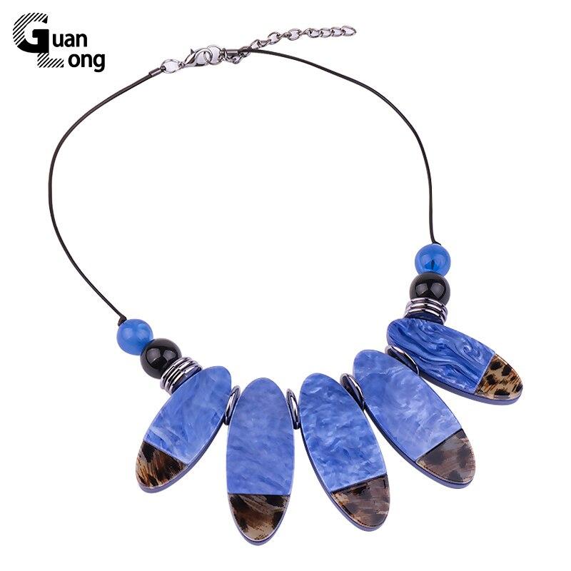 Ожерелье и кулоны GuanLong, модные овальные, из смолы, массивные, для женщин, 2018, подарок на Новый год, украшения