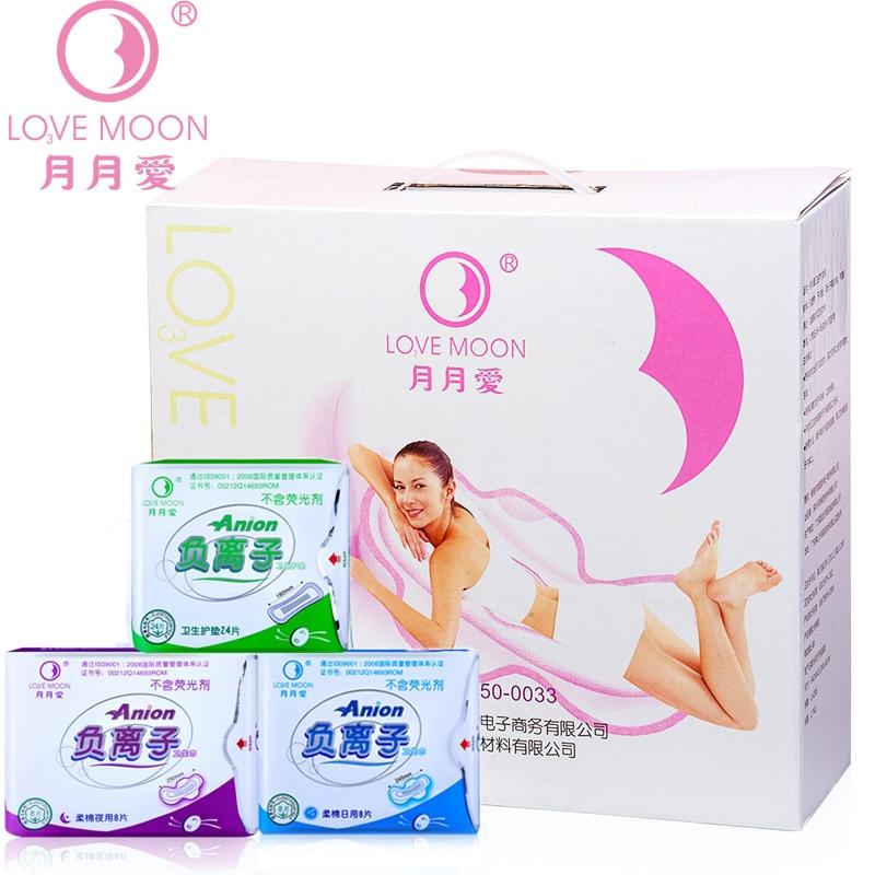 19pack /lot Strip Anion Love Moon Jewelry Sets Winalite Lovemoon Anion Sanitary Pads Female Hygiene Sanitary Napkin Panty Liner
