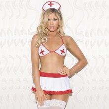 Women Erotic Nurse Costume Suit Sex Game Role Play Sexy Lingerie Hot Nightwear Temptation Porn Halter Bra G-String Underwear Set