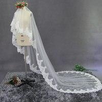 Luxury layer one White ivory Wedding Accessories Veil Lace edge Chapel length Bridal Veils Velos De Novia
