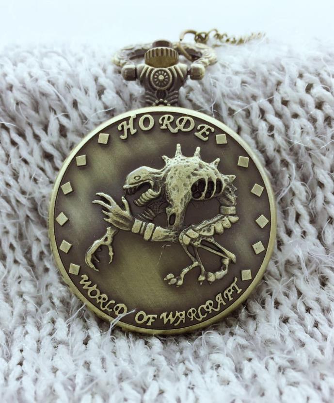 Reloj de bolsillo de cuarzo Vintage Steampunk World of Warcraft Horde esqueleto dinosaurio hombres niños COLLAR COLGANTE regalo de boda