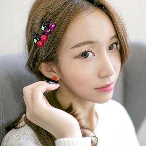 1 par mulheres meninas moda coreano princesa headdress mini cereja garras de cabelo headwear bonito hairclip