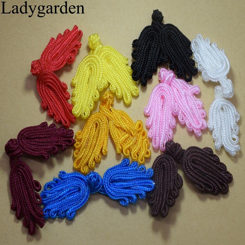 5 pares de costura hecha a mano con cuentas de rana China cierres botones nudo sujetador para Cheongsam Tang Suit tradicional botones de decoración