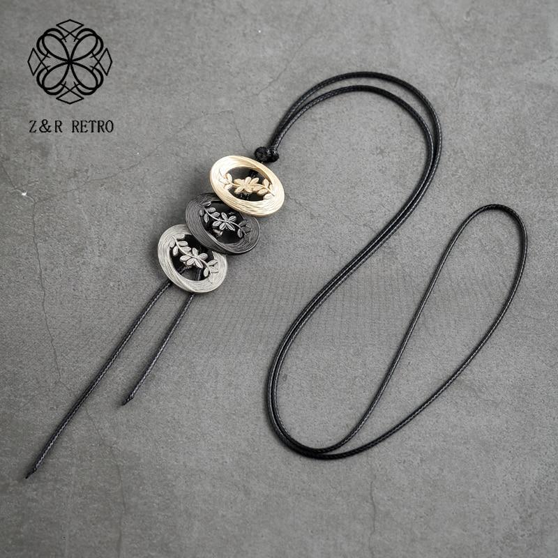Vintage flor jóias para mulher gargantilha colar longo corda cadeias de suspensão jóias liga instrução colares & pingentes 2020