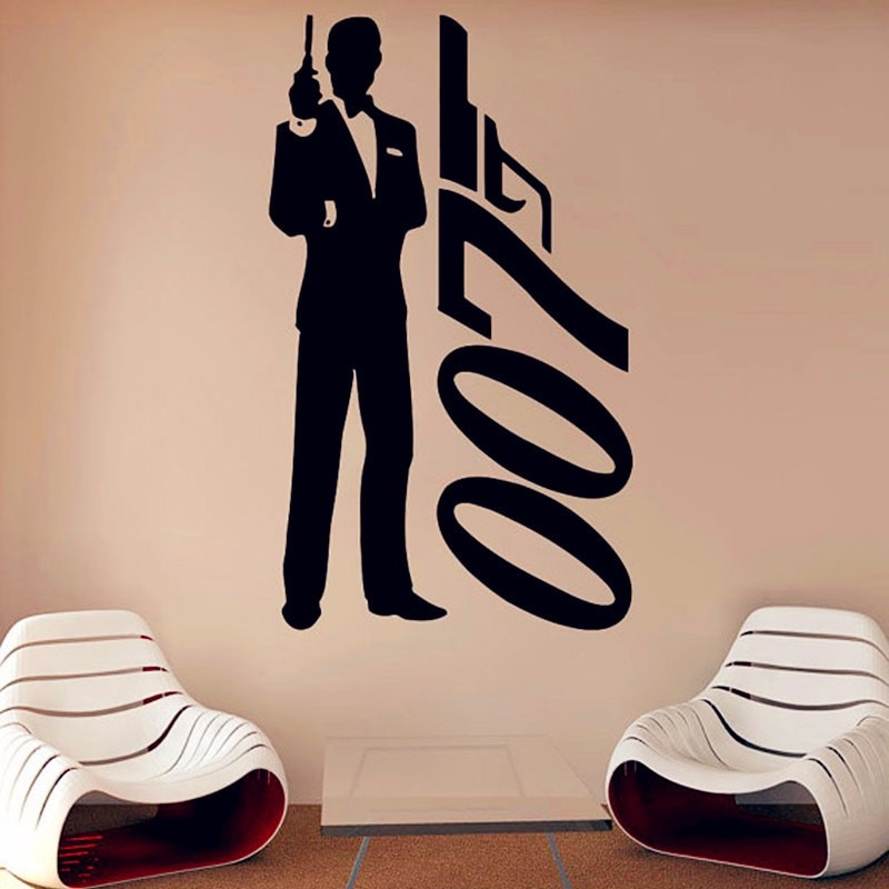 DANIEL CRAIG 007 MOVIE FILM SILHOUETTE WALL ART STICKER DECAL REMOVABLE VINYL ROOM DECORATION