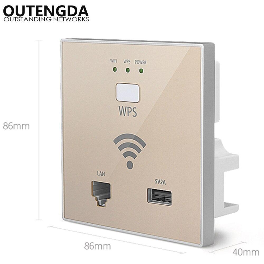 300mbps in-wall sem fio ponto de acesso tomada de parede wi-fi extensor para hotel wi-fi projeto apoio ac gestão & rj45 usb wps