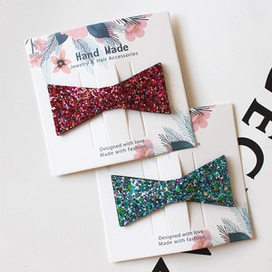 Resale 4cards/lot Cute Triangle Girls Hair Clip Squre Synthetic Glitter Felt Hairpins Kid Simple Hair Clips Handmade Girl Winter