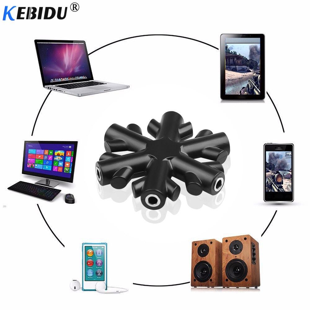 Kebidu qualidade 3.5mm fone de ouvido divisor áudio 1 macho para 1 2 3 4 5 cabo fêmea 5 vias porto aux música saída de som cabos