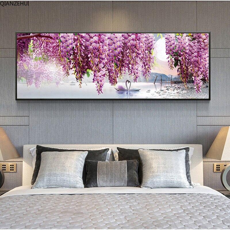 QIANZEHUI,DIY 5D Flor de cisne púrpura bordado de diamante, Diamante redondo completo rhinestone pintura de punto de cruz, costura