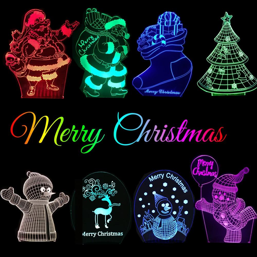 GAOPIN Feliz Natal Papai Noel Natal Boneco de Neve Árvore 3D Lâmpada USB CONDUZIU a Lâmpada de Mesa de Iluminação RGB Cores Mudar Night Light Lamp decoração