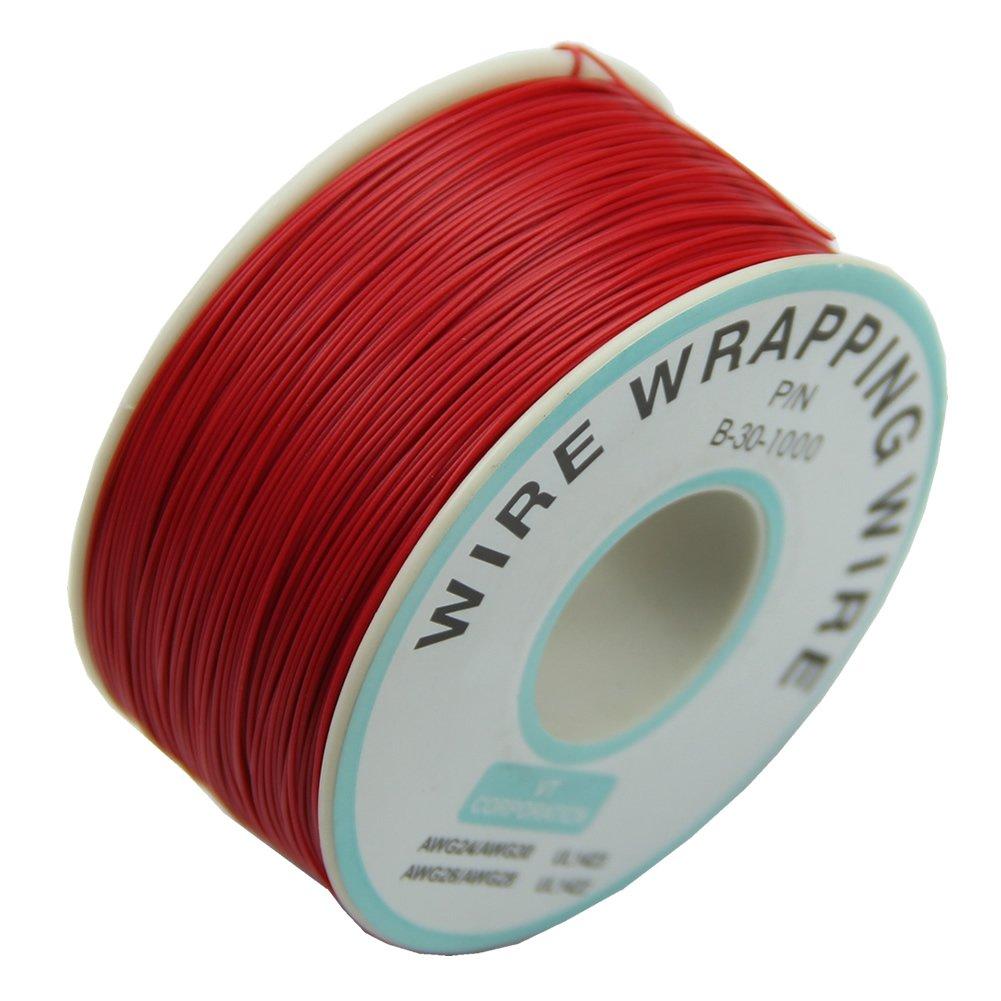 CNIM-Cable de envoltura de alambre 30AWG, 0,25mm, 305m, nuevo (rojo)