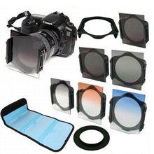 49 52 55 58 62 67 72 77 82mm Halka adaptörü + Tutucu + Filtre ND2 ND4 ND8 + mezun Gri Mavi Turuncu Filtre için Filtre P Kamera
