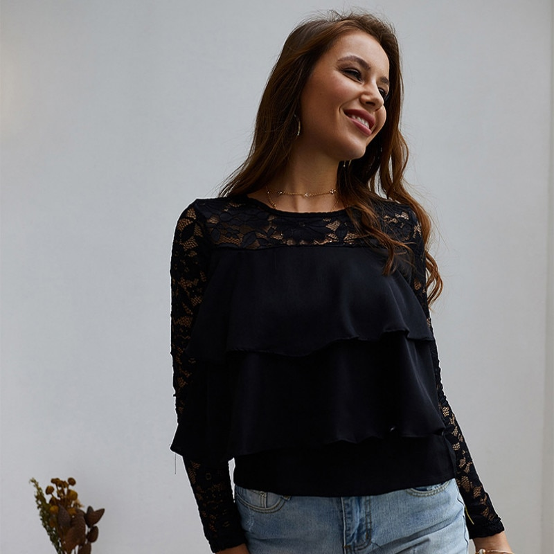 New 2019 Long Sleeve Lace Loose Tops Temperament Commuter Shirt tops women shirts  women tops N30D