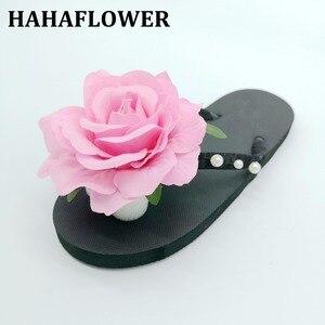 HAHAFLOWER/милые розовые Тапочки на плоской подошве с розами; женская повседневная обувь; пляжные шлепанцы; большие размеры; Бесплатная доставка