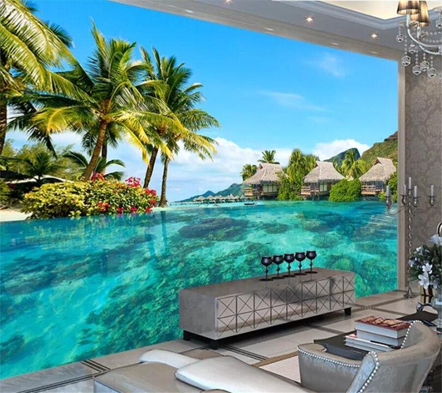 Beibehang, papel pintado con foto 3D personalizado, playa del Mar de Maldivas, paisaje Natural, fotografía, sala de estar, TV, fondo, mural de papel de pared