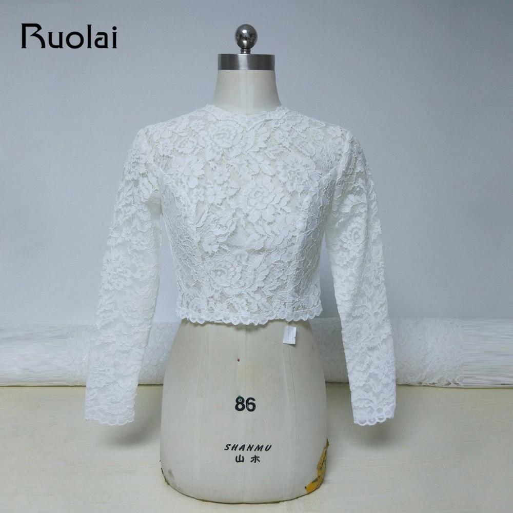 Novedad de 2019, chaqueta de manga larga de marfil con cuello alto para boda, chaqueta Bolero de encaje, abrigo de novia con botón trasero, accesorios de boda, ropa para mujer FJ24
