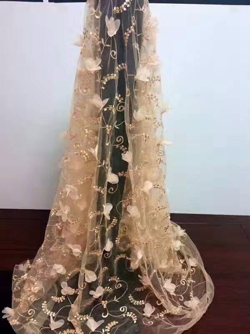 New Soft Net African Lace Fabric Material 3D French Tulle  Mesh Flower Embroidery Textile High Quality