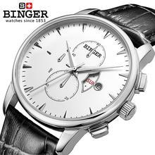 Schweiz männer uhr Luxus Marke Armbanduhren BINGER quarzuhr Lederband Chronograph Uhr Wasserdichte BG-0404-7