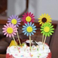 Tissu gâteau en fleurs de soleil 6 pièces, Set de décoration pour patisserie pour fête danniversaire et de mariage pour enfants, outils de décoration de gâteaux, réception prénatale, décoration de gâteaux