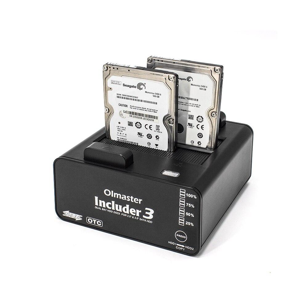 Estación de acoplamiento de disco duro OImaster Dual Bay Funda de disco duro USB 3,0 a 2,5/3,5 pulgadas SATA carcasa de disco duro Dual Bay HDD SSD