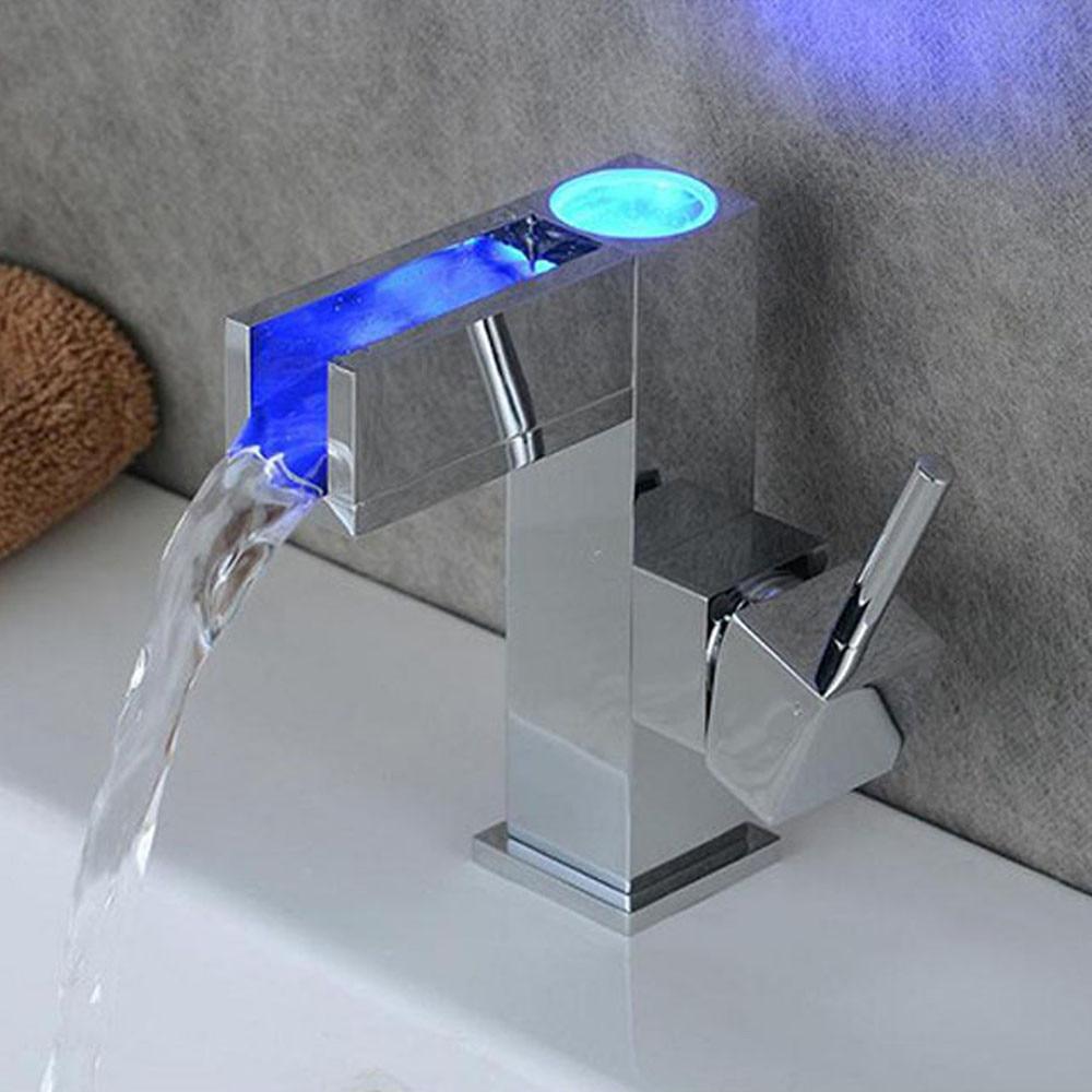 Kitchen Sink Faucet LED Automatic Sensor Faucet Waterfall Bathroom Basin Brass Chrome Finish Mixer Tap Faucet D326