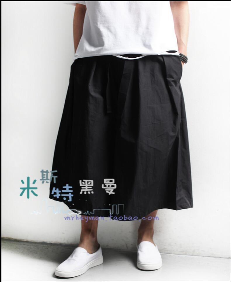 27-44 2020 New Retro Skirt Pants Men Fashion Culottes Pants Loose Casual Wide Leg Pants Hairstylist Nightclub Singer Costumes