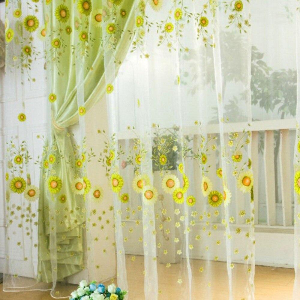 1 pçs nova pastoral girassol tule voile janela cortina painel de cortina sheer scarfs valances janela scarfs casa têxtil