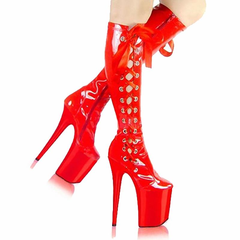 Botas de media caña de 20cm, zapatos de plataforma para mujer, botas transparentes de tacón alto, moda Fenty, zapatos góticos de belleza, botas para mujer, talla grande 46