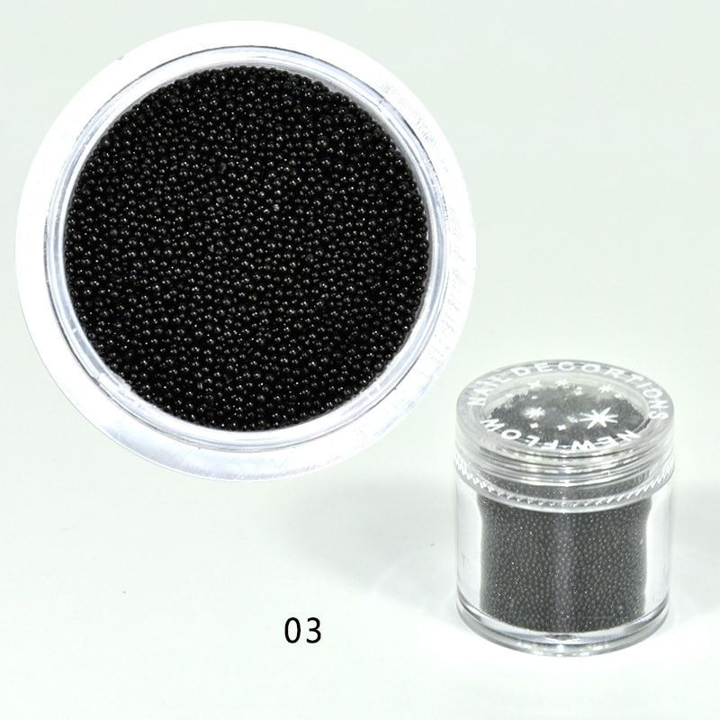 10grams/Pot 0.6mm-0.8mm Black Colors Nail Caviar Beads 3D Micro Tiny Beads Ball Nail Art Decorations For Gel Polish #03