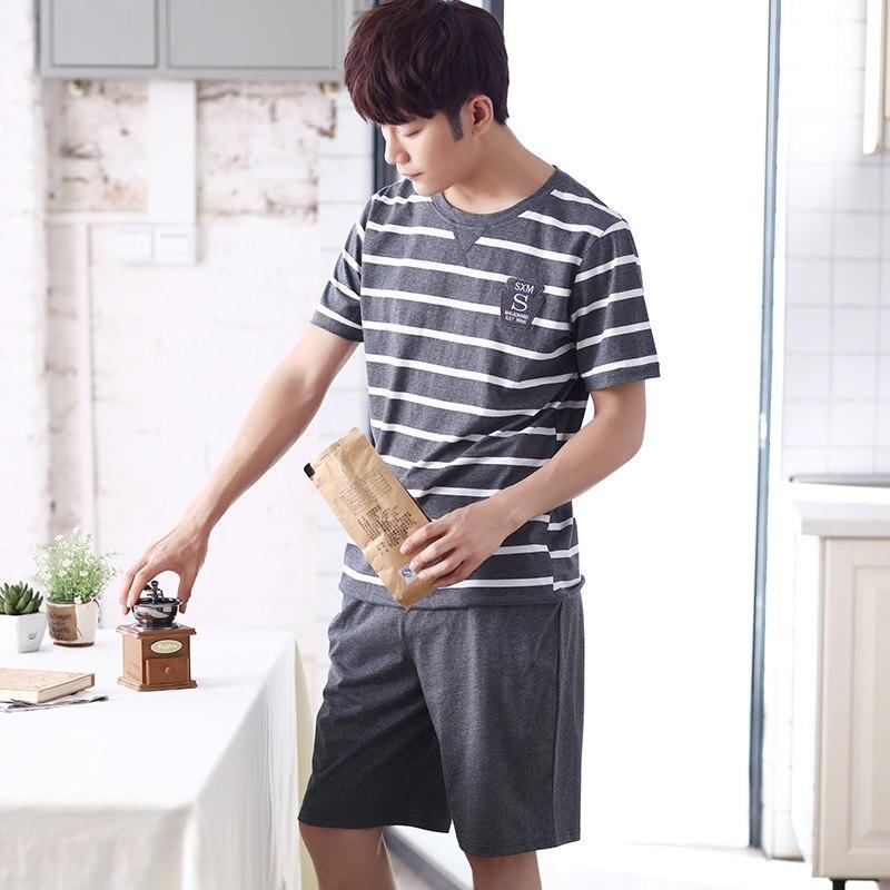 Пижамный комплект Мужской Хлопковый с коротким рукавом, повседневная одежда для сна в полоску, домашняя одежда для отдыха, лето 2019