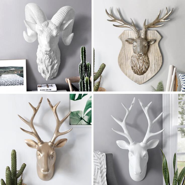 American Animal Head Golden Deer Head White Antelope Wall Hanging Decor Home Mural Wall Background Decoration Resin Crafts 05460