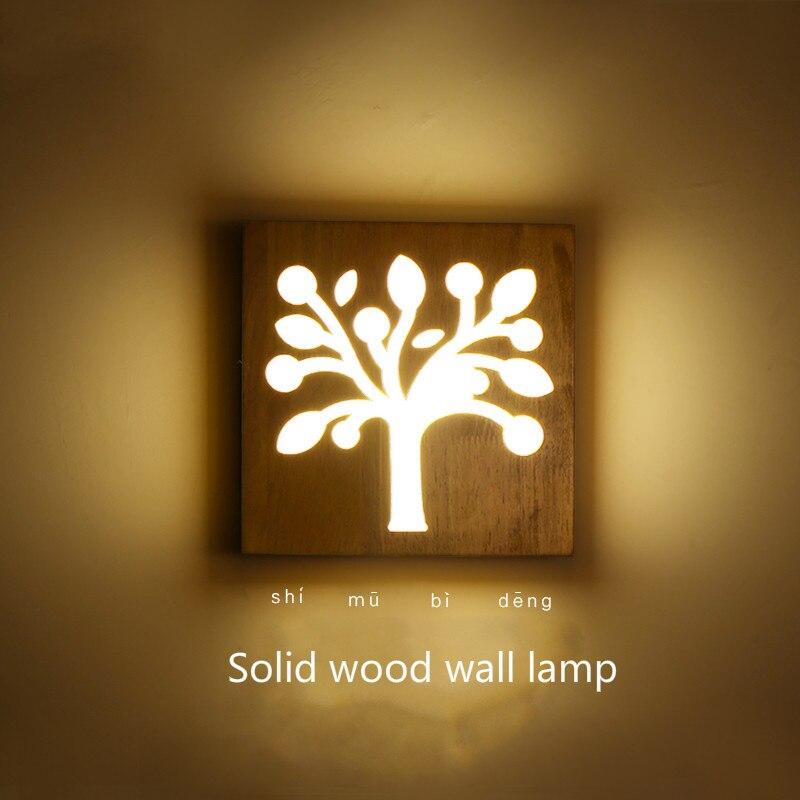 Lámpara de pared de madera maciza moderna, breve decoración, lámpara led de madera, lámpara de noche para dormitorio, lámparas de estilo japonés