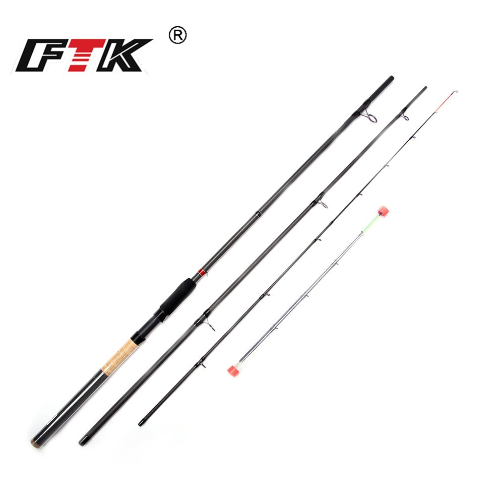Caña de pescar FTK, caña alimentadora de carbono 99%, 3 secciones C.W 40-120G 3,3 M 3,6 M 3,9 M con 3 puntas de caña, cebo de pesca estándar