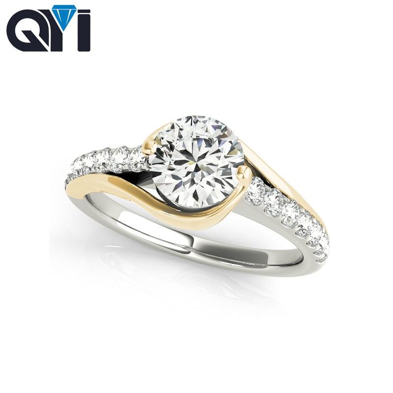 Женское кольцо для помолвки QYI, овальное кольцо из серебра 925 пробы с 1 каратом