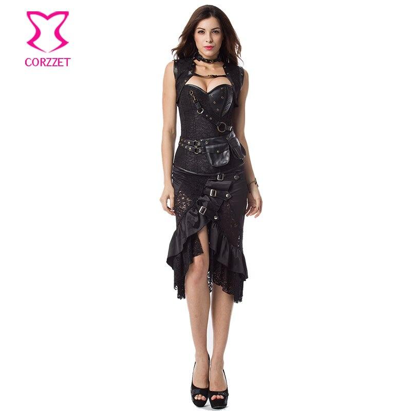 مشدات ومشدات سوداء قوطية ، فستان مثير ، مشد مقاس كبير ، Steampunk ، زي فيكتوري هزلي ، طقم تنانير