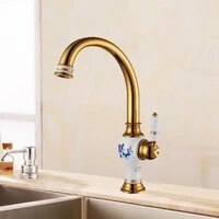 free shipping brass torneira cozinha with porcelain kitchen faucetsingle handle gold finish basin sink mixers taps sink faucet