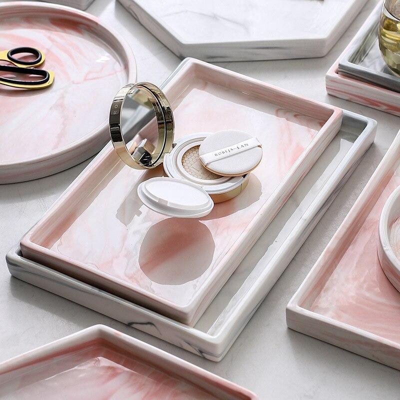 Placa de cerámica acrílica para PizzA, color gris, rosa, diseños de mármol personalizados, soporte de bandeja de servicio de almacenamiento de joyería para cabecera de porcelana