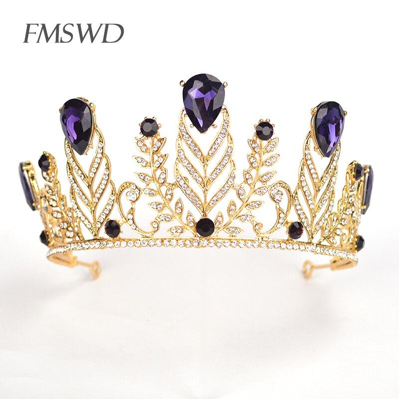 Tiara de hojas de cristal de lujo barroca para boda accesorios para el cabello joyería de moda