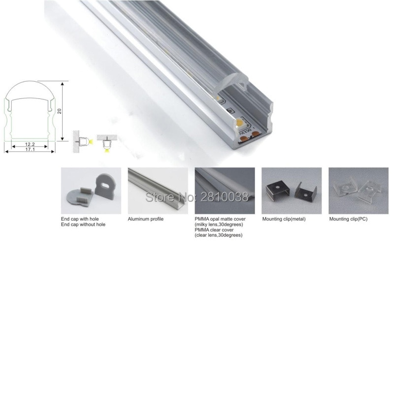 300 X 2M Sets/Lot U style aluminium led profile housing with 30 degree lens and 6063 alloy led strip aluminum channel for wall