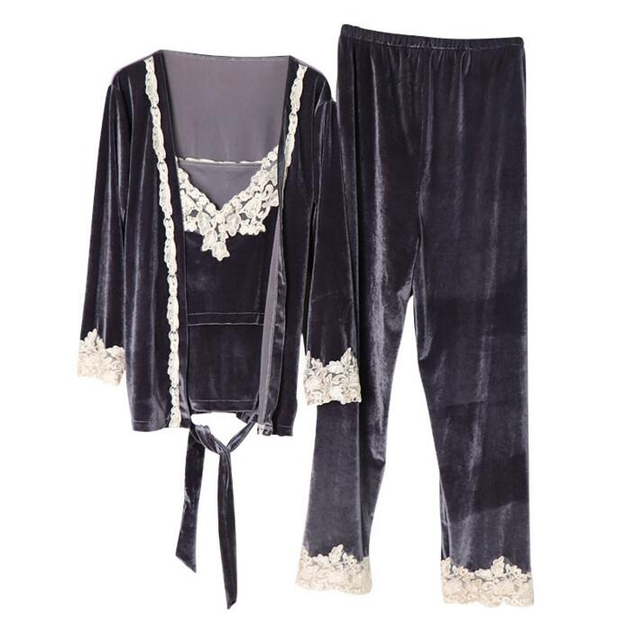 3 Pcs/Set Spring and Autumn Clothes Nursing Sleepwear Fashion Gold Velvet Breastfeeding Pajamas Maternity Clothes A050 enlarge