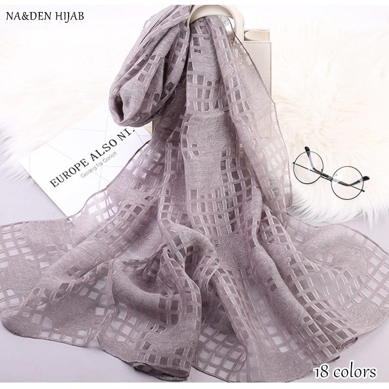 2018 new Scarf rose stripe design scarves shawl Cut flower muslim scarfs fashion muffler gauze pashmina foulard scarf 15 color