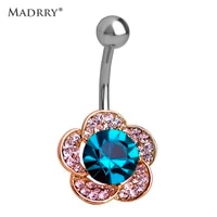 madrry green rhinestone flower piercing belly button ring barbell piercing ring body jewelry summer style women body chain plug